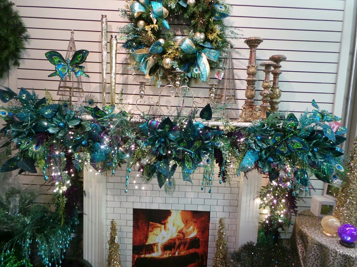 beautiful christmas mantel decor peacock mantle - Beautiful Mantel Christmas Decorations