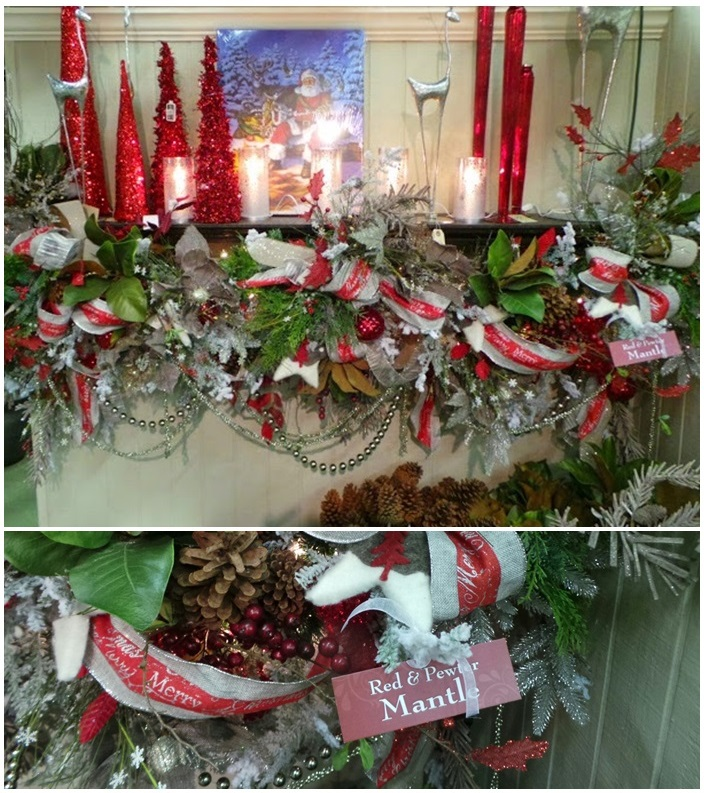 Beautiful Christmas Mantel Decor Red and Pewter
