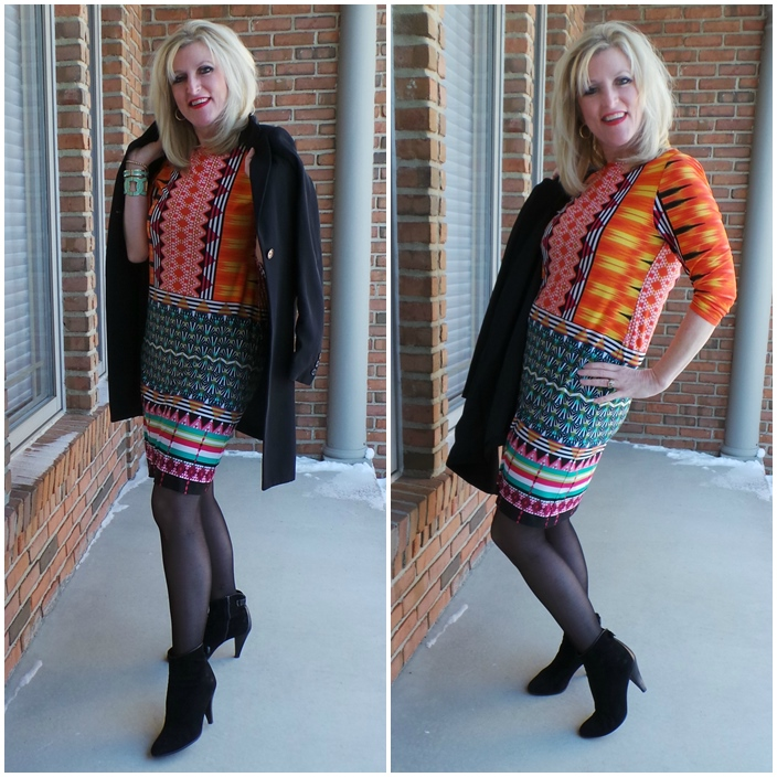 Monroe and Main Spring Graphic Print Dress Shelley Zurek Still Blonde after all these YEARS