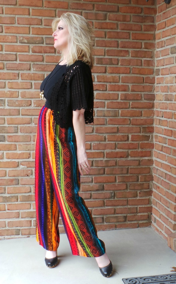 1970s Jumpsuit celebrity Still Blonde after all these Years graphic pants Farrah Hair