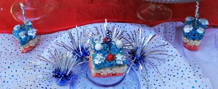 layered Crispy Rice Krispies 4th of July food crafts for Kids Patriotic Treat