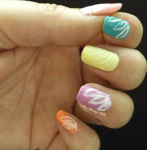 Pastel Neon Flowers Summer Manicures