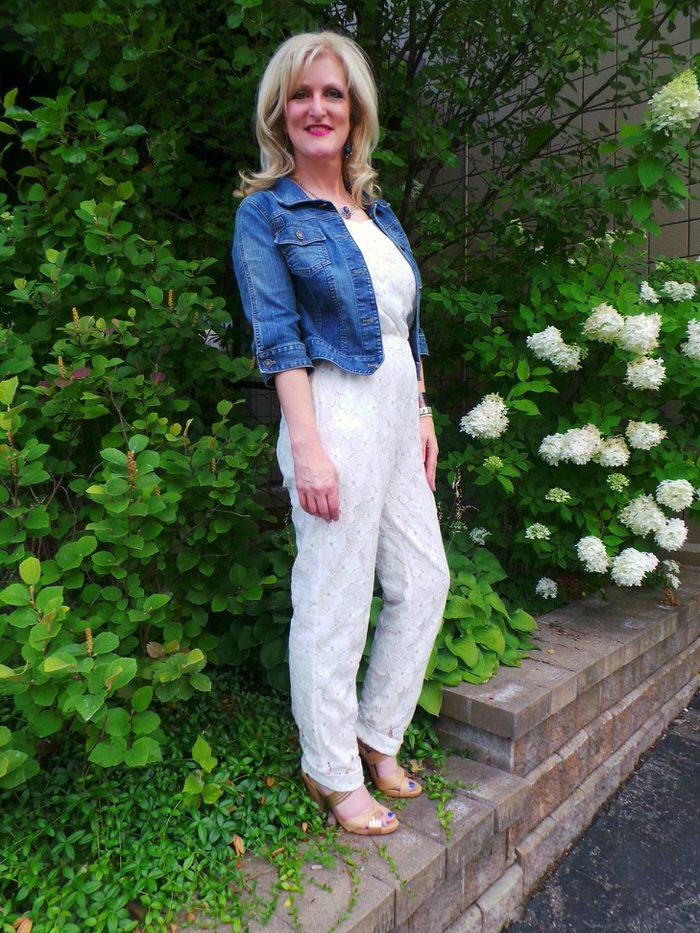 White Eyelet Jumpsuit Still Blonde after all these Years Shelley Zurek