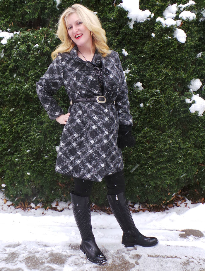Janska Becca Plaid Coat Sherpa Mittens Vince Camuto Quilted Boots Brighton Belt