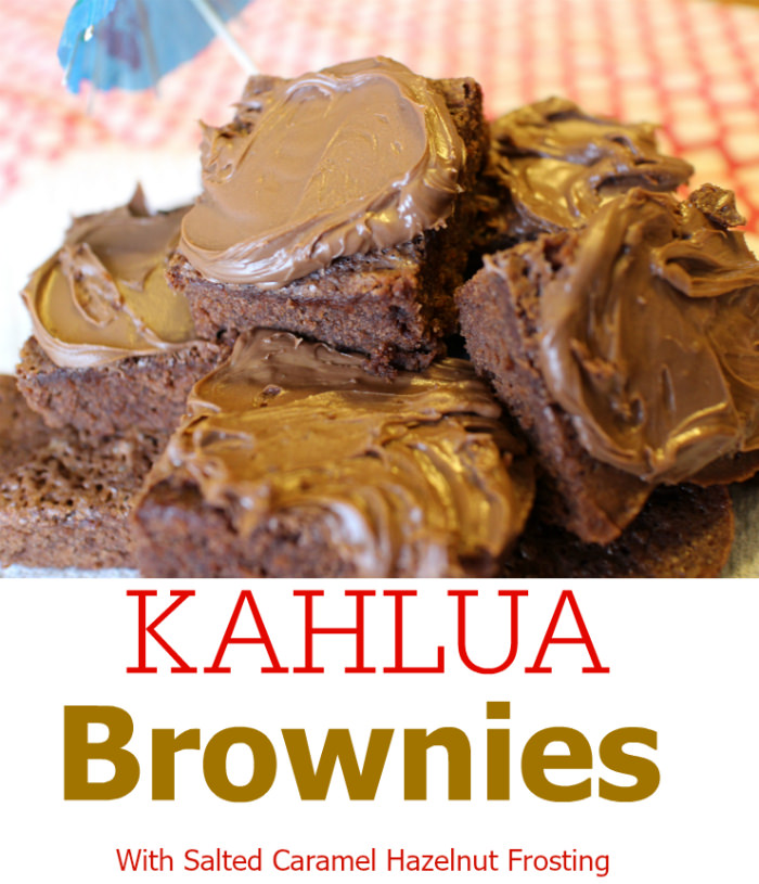 Kahlua Fudge Brownies with Salted Caramel Hazelnut Frosting