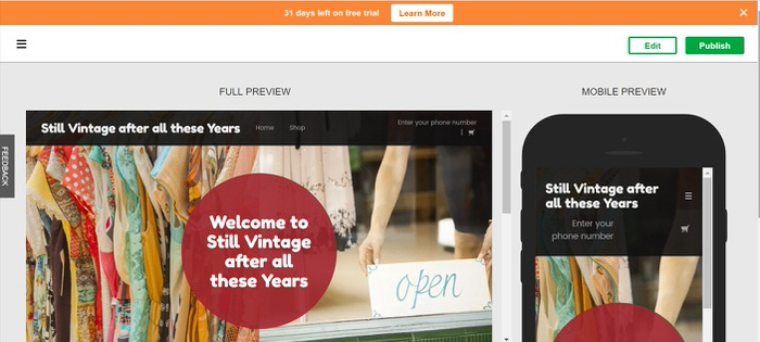How to set up an Online Vintage Store and Have it Open in 3 hours Choosing a design Godaddy GoCentral Website builder