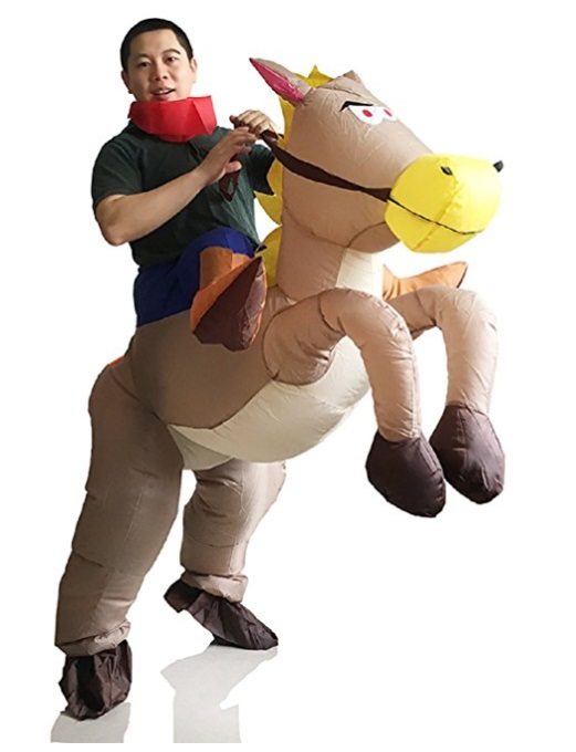Inflatable Western Cowboy Piggyback Horse Costume Adult Halloween Party Blow up Suit  sc 1 st  Still Blonde after all these YEARS! & 10 Best Piggyback Costumes | 10 Best Ride On Costumes