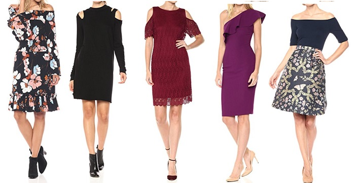 holiday dresses for Mature Women off the shoulder exposed shoulder