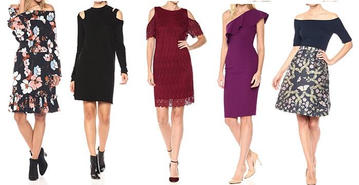 holiday dresses for Mature Women off the shoulder exposed shoulder