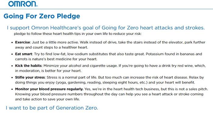 Zero Heart Attacks Strokes Go For Zero Pledge