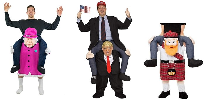 Ride on costume for adults Inflatable costume for adults Piggyback costume piggy back Queen Elizabeth Donald Trump Scotsman