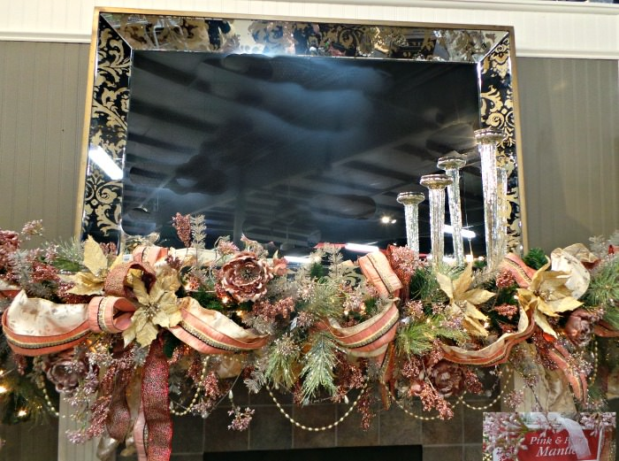 Christmas fireplace Ideas pink and pearl Mantel