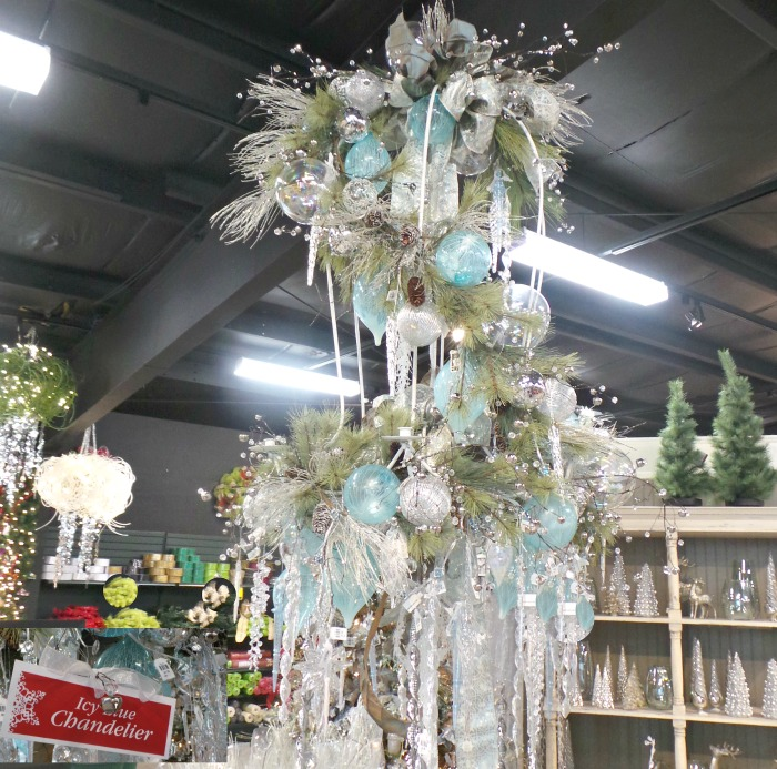 How to decorate a chandelier for Christmas icy blue