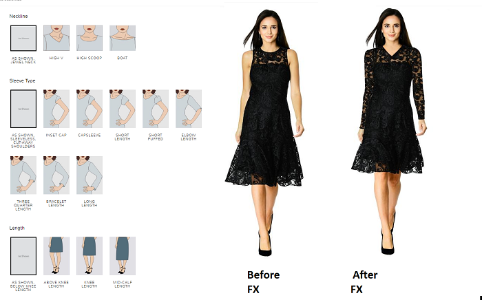 eShakti FX Online Dress Designer Tool Before and after