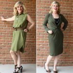 Go-Green-for-Fall-Pendleton-Sleeveless-Medallion-Dress-vs-Taylor-Dresses-34-Sleeve-Solid-Stretch-Knit-Dress-with-Knot-Front-Detail