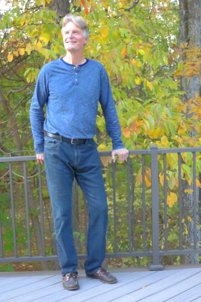 Amazon He and She Amazon December Haul Tall Man wearing a Henley in the Fall